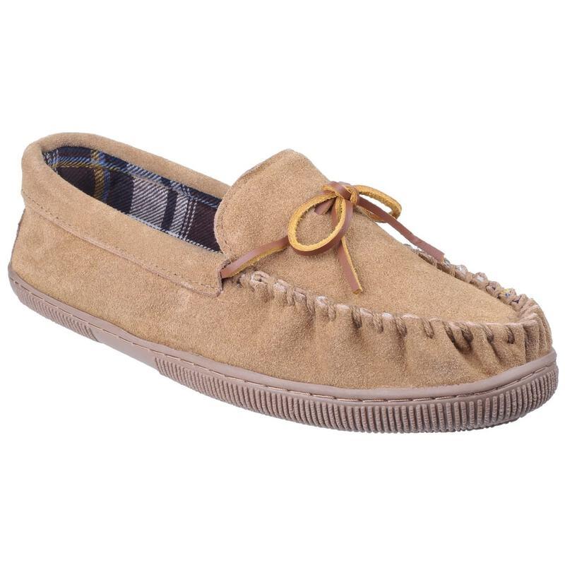 646471e5809 Cotswold Mens Alberta Slip-On Moccasin Slippers (Beige)