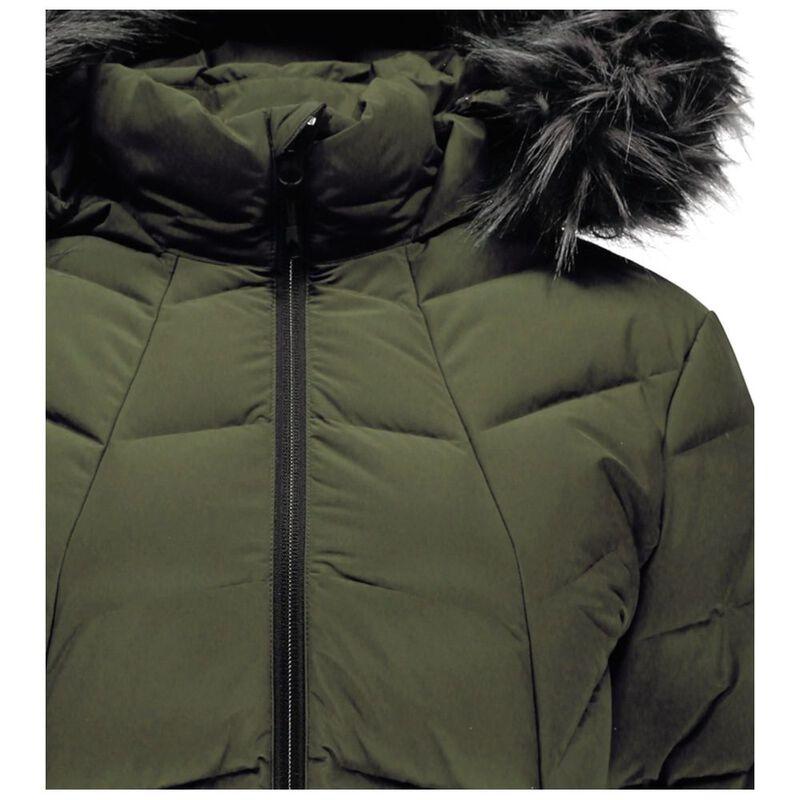 303a9c627 Spyder Womens Syrround Long Faux Fur Down Jacket (Guard)   Sportpursui
