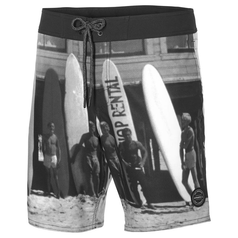 9dd20759e8a O'Neill Mens Mid Freak Photo Board Shorts (Black All-Over Print) | Spo
