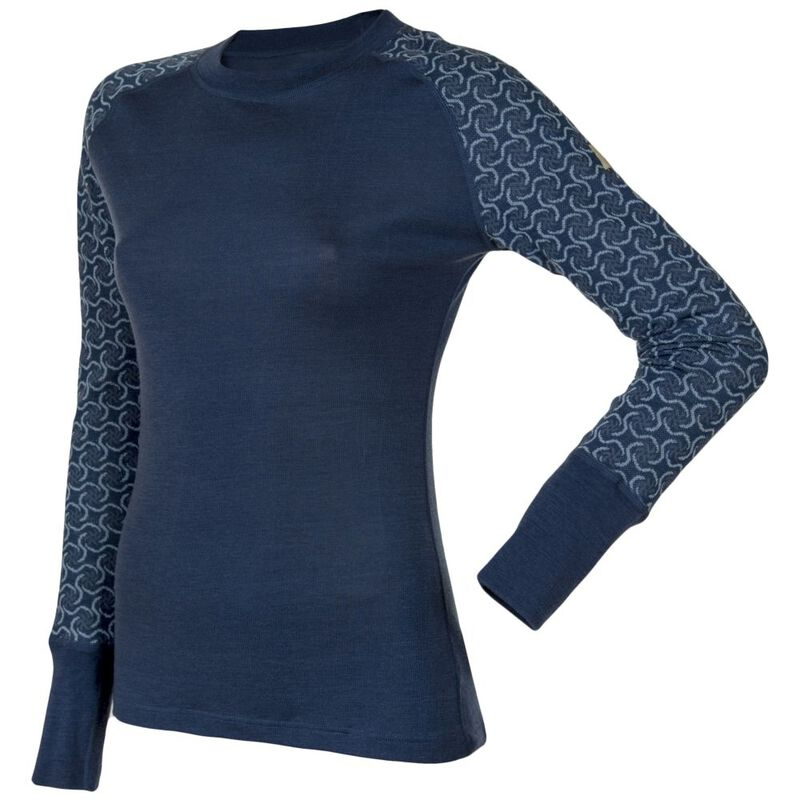 b7a425d3 Janus Womens Design Wool Round Neck Long Sleeve Top (Dark Blue) | Spor