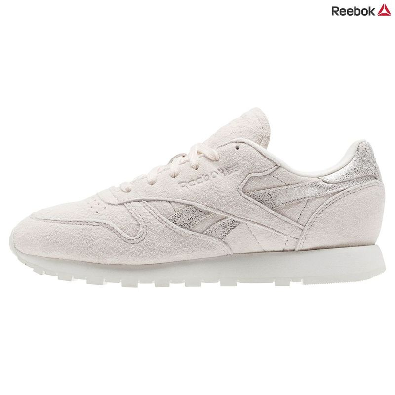 6424e97827d Reebok Womens Classic Leather Shimmer Shoes (Pale Pink Matte Silver Ch