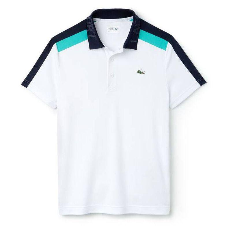d971829741d Lacoste Mens Contrast Band Technical Piqué Tennis Polo Shirt (White Na