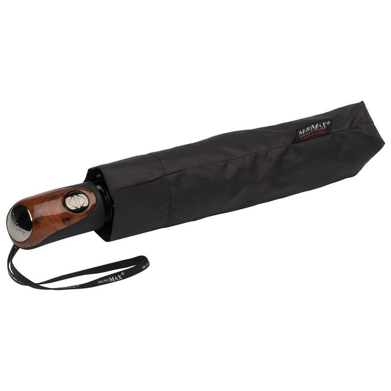 7db335100 MiniMax Automatic Foldable Umbrella with Wooden Handle (Black) | Sport