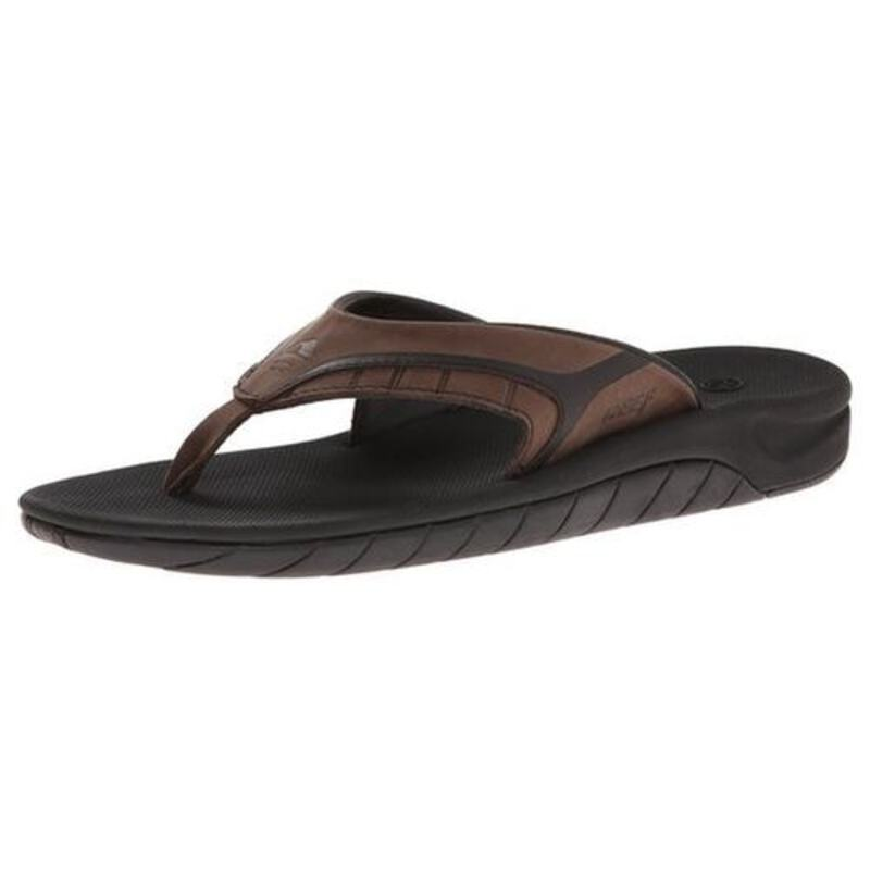 851499489525 Reef Mens Leather Slap II Flip Flops (Brown Plaid)
